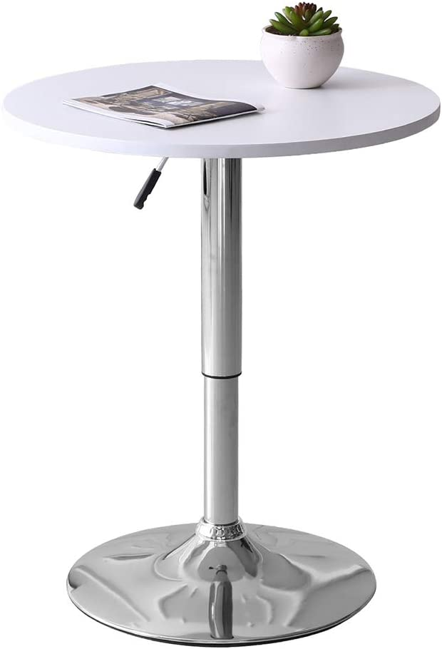 BOJU White Round Wood Kitchen Table Breakfast Bar Table Chrome Metal Legs Adjustable Gas Lift Height Office Waiting Reception Table Small Dining Room Table