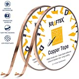 Copper Foil Tape [2 Huge Rolls] (1/4inch X 36yd Each) 72 Yard Pack with Conductive Adhesive - Stained Glass, Soldering, Electrical Repair, Grounding, EMI Shielding - Extra Value Pack- Thicker Foil: more info