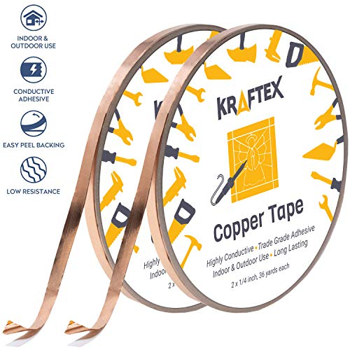 (Copper Foil Tape [2 Huge Rolls] (1/4inch X 36yd Each) 72 Yard Pack with Conductive Adhesive - Stained Glass, Soldering, Electrical Repair, Grounding, EMI Shielding - Extra Value Pack- Thicker Foil)