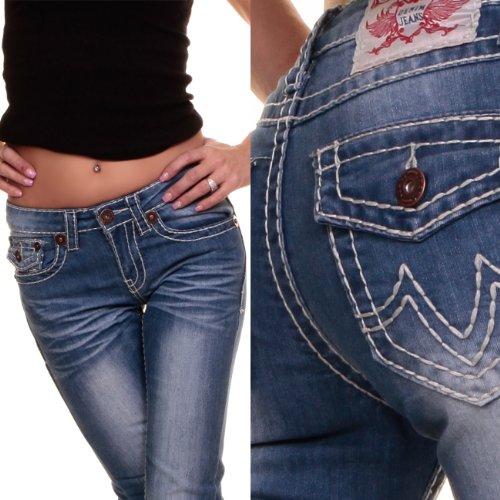 Jean de designer avec large coutures low jeans poket 34016 five Bleu