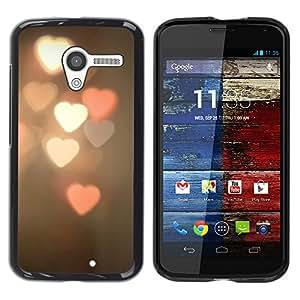 YOYOYO Smartphone Protección Defender Duro Negro Funda Imagen Diseño Carcasa Tapa Case Skin Cover Para Motorola Moto X 1 1st GEN I XT1058 XT1053 XT1052 XT1056 XT1060 XT1055 - luces borrosa de color rosa del corazón de la noche blanca