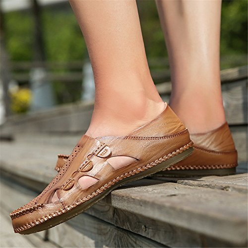 Non Suture Slip Flop Perforation Men's Toe Casual Brown Handwork Sandals for Slippers Breathable Genuine Closed Flip Flat Soft Slippers Leather Beach Sandals Men gPwfSqgp