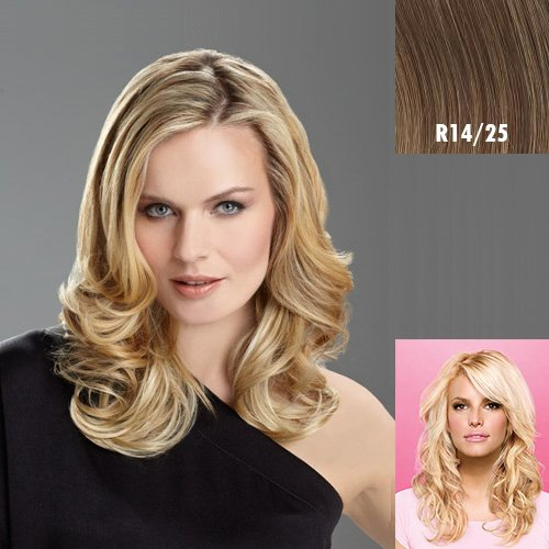 Hairdo Tru2Life Styleable Extensions - 20 Inch Wavy Clip In Extension R14/25-Honey Ginger/Dark Golden Blonde by HairDo - Extension Ginger