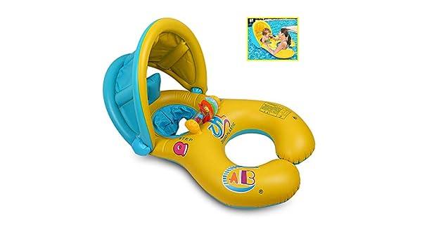 QIN-SUN Inflable Madre Bebé Piscina natación Anillo con sombrilla ...
