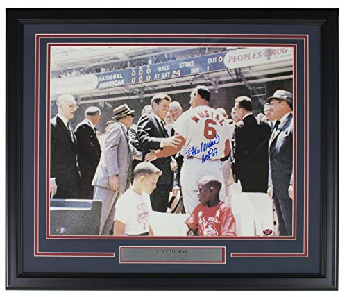 (Stan Musial Signed Framed St. Louis Cardinals 16x20 Photo W/JFK HOF 69 SI+Musial)