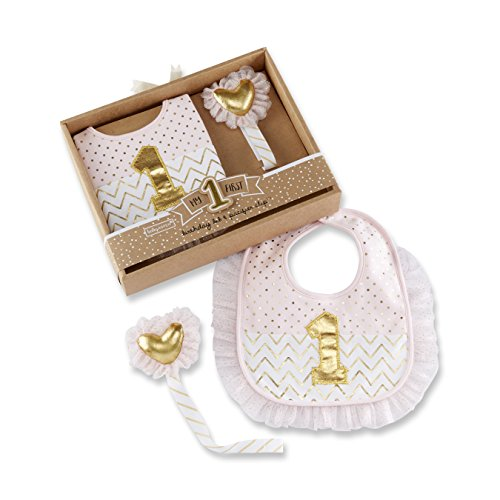 Baby Aspen My First Birthday Pacifier Clip & Bib Set, Pink/Gold
