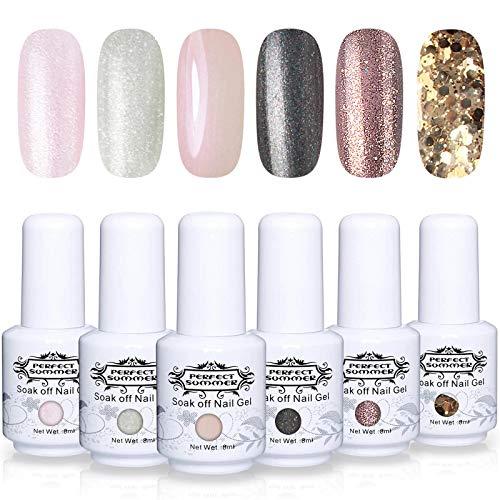 Perfect Summer Gel Nail Polish Kit - 6PCS Glitter Colors Gel Nail Varnish Soak Off UV LED Manicure Gift Set 8ML 085