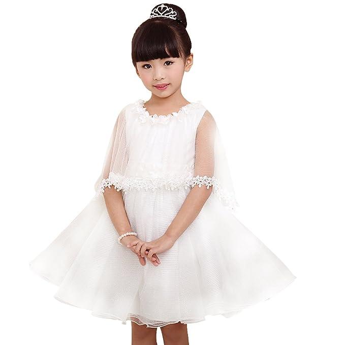 Mini abito di comunione ragazza bambino vestito bianco mariee Tulle Abito  Pizzo bianco Statura 105-115 cm S  Amazon.it  Abbigliamento 7a495cf4557