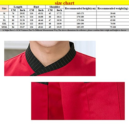 Button 3 Sleeve Zhhlinyuan Top Jacket Comfortable Colors White Uniform Long Unisex Chefs Tw1zZ