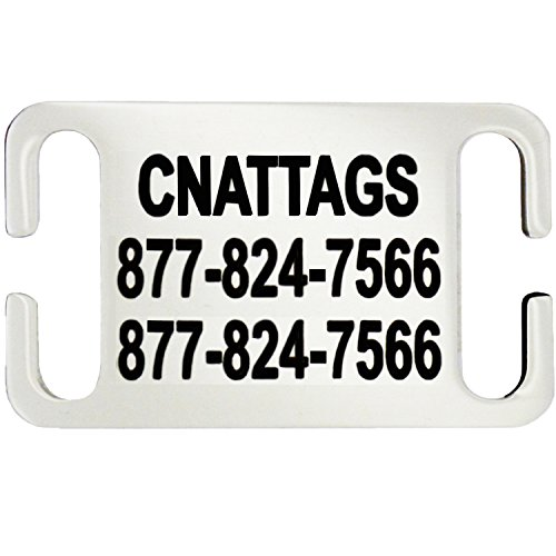 CNATTAGS Stainless Steel Slide-On Pet ID Tags Dog Tags Personalized Engraving (Large)