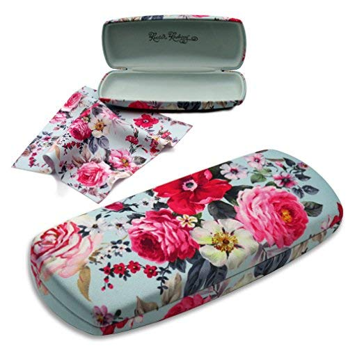 Rachel Rowberry Floral Hard Eyeglass Case for Women with Cleaning Cloth | Medium Hard Eyeglass case in a Unique Microfiber Smooth Finish (AS135 Rose Bouquet)