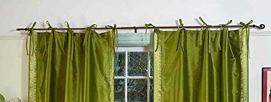 Indian Selections Olive Green Tie Top Sheer Sari Curtain/Drape/Panel