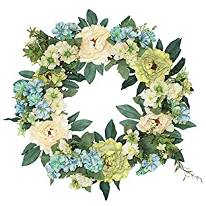 Emlyn Silk Summer Door Wreath 16 Inch -Handcrafted On A Grapevine Wreath Base- Multi Tones 4