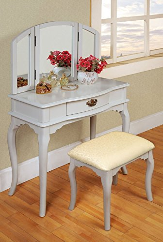 Contemporary Style Wooden Accent Curved Legs Tri-Folding Mirror Make-Up Vanity (Single Dresser Set)