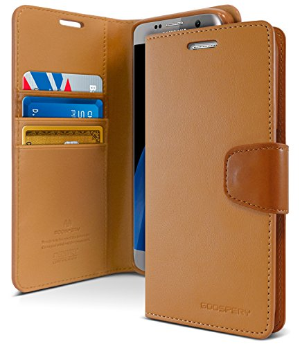 Galaxy S7 Edge Case, [Drop Protection] Goospery Sonata Diary Premium Soft Synthetic Leather [Wallet Type] Case Cover [ID/Card & Cash Slots] for Samsung Galaxy S7 Edge (Sand Brown) S7E-Son-CAM]()