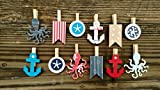 Nautical Clothespins Baby Shower Decoration Anchor Octopus Beach Wedding Don't Say Baby Game Clips 12 Pins Boy Diaper Cake Wedding Party Favors Drink Marker Place Card