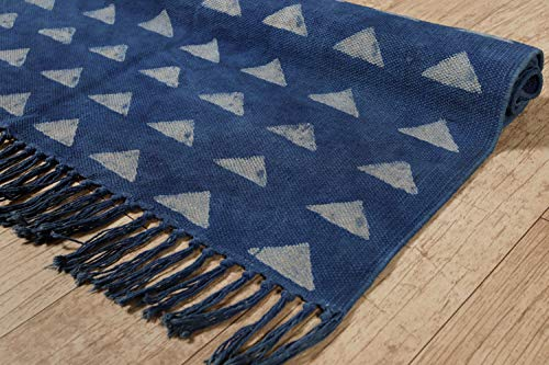 - HANDICRAFT-PALACE Indian Handmade Kashish Block Printed Rugs Cotton Designer Area Rug Floor Mat Yoga Mat Bohemian Home Floor Room Decorative Throw Dhurrie Rug 3'x5' Feet (Indigo Pyramids)