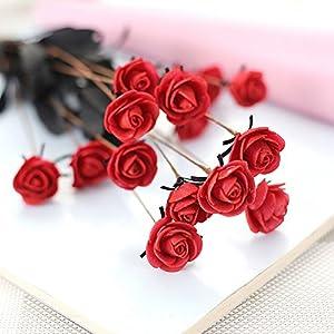SHJNHAN Artificial Flowers, 1x Artificial PE Fake Flowers Rose Floral Wedding Bouquet Bridal Hydrangea Decor 5
