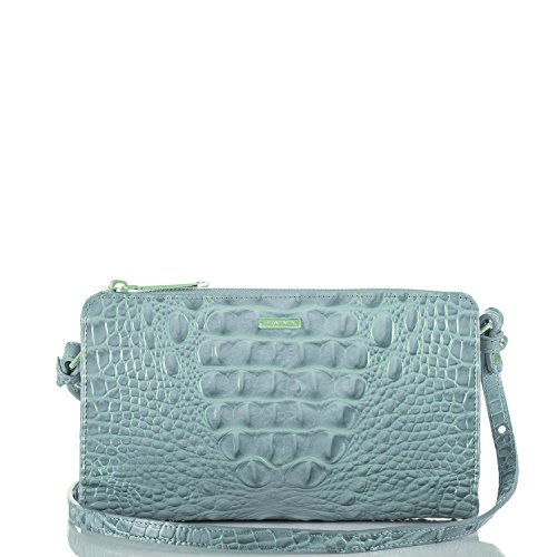 NEW AUTHENTIC BRAHMIN SIENNA TRAVEL CLUTCH CROSSBODY (Sky (Sienna Authentic Leather)