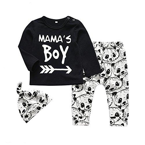 Cartoon Baby T-shirt - Newborn Baby Boy 3Pcs Clothes Set Mama's Boy Long Sleeve T-Shirt Tops Cartoon Panda Pants and Hat (0-6 Months)
