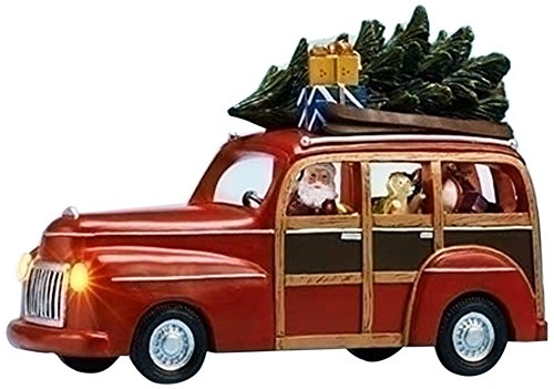 Amusements High Santa Driving a Lighted Musical Panel Station Wagon Filled with Gifts Decor, ()