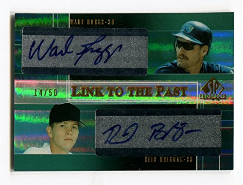 2004 Upper Deck SP Prospects WADE BOGGS Reid Brignac RC Dual Auto Link to the Past Very Rare Signed Card Serial Numbered #/50 Tampa Bay Devil - Upper 3rd Link