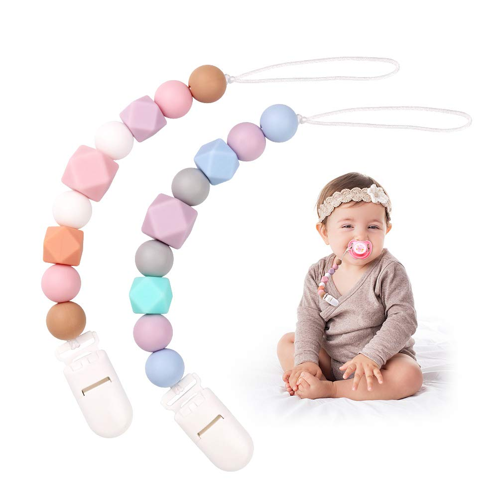 Baby Dummy Clips Pacifier Chain Silicone Teething Relief Toys Beads for Girls, Soothie Pacifier Holder & Binky Clips, Best Baby Shower Gifts Pack of 2 (Pink) MCGMITT RR047