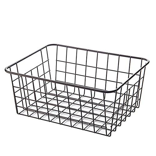 WOLFBUSH Vegetable Bin, Small Storage Bin Basket Wire Iron Shelf Rack Organizer for Kitchen Bedroom