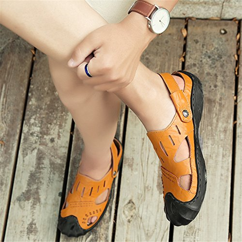 Beach Sandals 7MUS Cutting Orange amp;Baby Orange Abrasion Toe Backless Leather Size Sunny Color Slip Vamp Genuine Men's Slippers Resistant Switch Closed Non qn4RWUBE