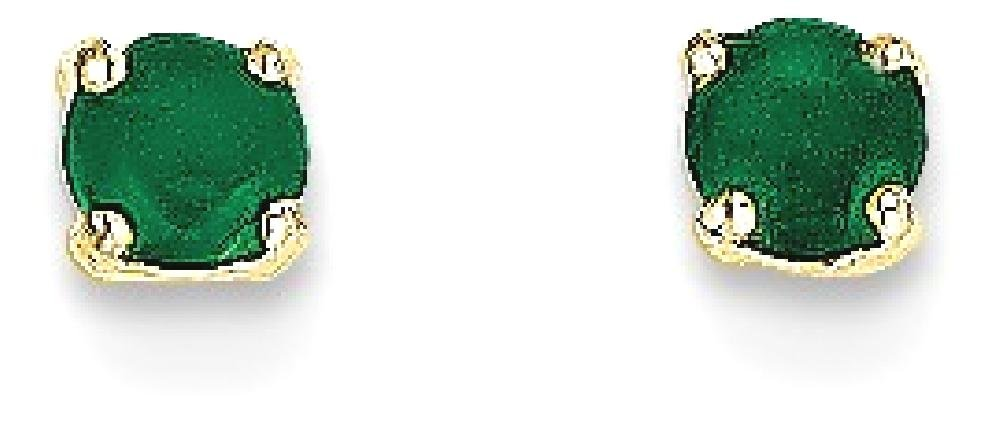ICE CARATS 14k Yellow Gold 3mm May/emerald Post Stud Ball Button Earrings Birthstone May Prong Fine Jewelry Gift Set For Women Heart by ICE CARATS (Image #2)