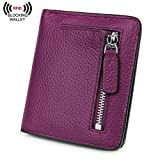 BIG SALE-AINIMOER Women's RFID Blocking Leather Small Compact Bifold Pocket Wallet Ladies Mini Purse with id Window (Dark Magenta)
