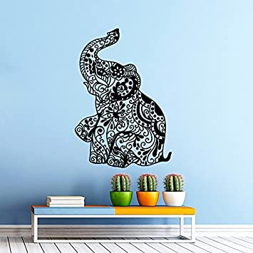 Elephant Wall Decal Indian Pattern Om Sign Decal Vinyl Sticker Wall Decor  Home Interior Design Art