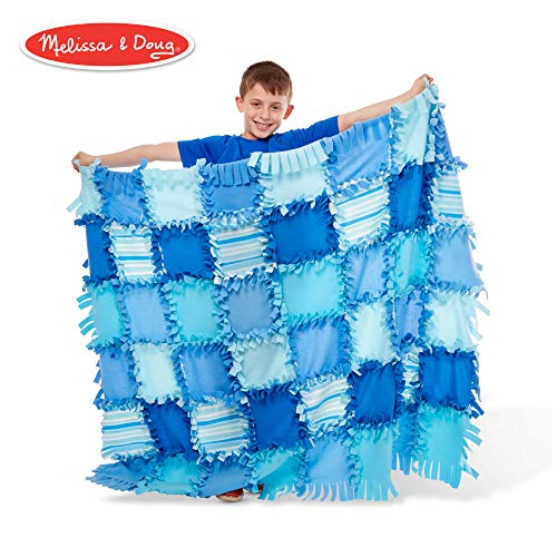 Melissa & Doug Created by Me! Striped Fleece Quilt No-Sew Craft Kit (48 Squares, 4 feet x 5 feet)