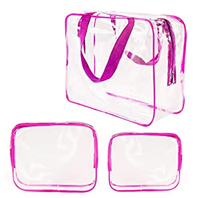 3Pcs Crystal Clear PVC Travel Toiletry Bag Kit for Men Women, Waterproof Vinyl Packing Organizer Storage Bag with Zipper Closure and Handle Straps, Cosmetic Pouch, Diaper Bag, Handbag Pencil Bag
