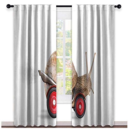hengshu Funny, Curtains to Keep Out Heat, Speedy Snail Like Car Racer on Wheels Success Ambition Goal Creativity Concept, Curtains for Living Room, W72 x L84 Inch Umber Red White