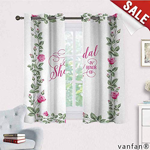 LQQBSTORAGE Bridal Shower,Curtains Bathroom Window,Roses Buds Floral Arrangement Leaves Frame Bride Party Theme Image,Curtains for Party Decoration,Hot Pink and - Gingham Pink Green Toile