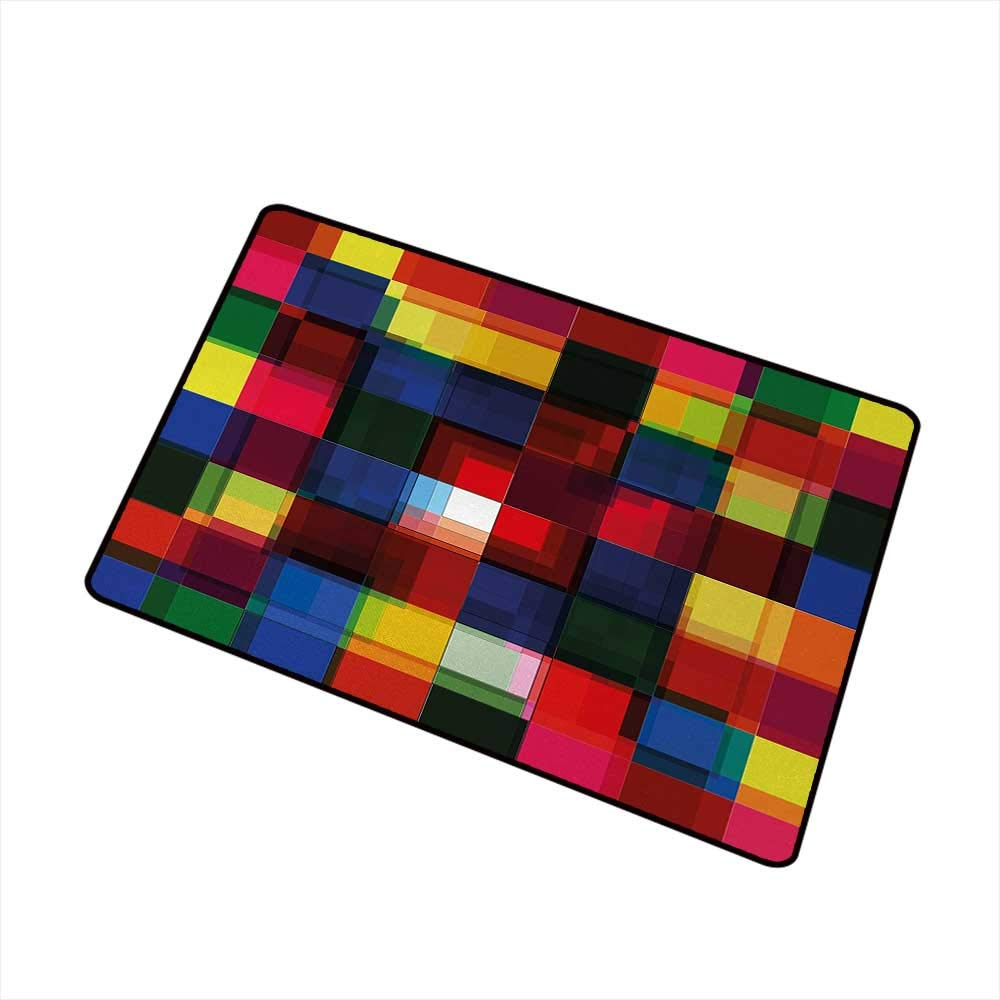 Flowers Doormat Entrance Mat Abstract,Halftoned Colorful Mosaic Pattern Squares Digital Like Effect Tile Grid Print,Multicolor,for Entry, Garage, Patio, High Traffic Areas,35''x47'' by Moses Whitehead