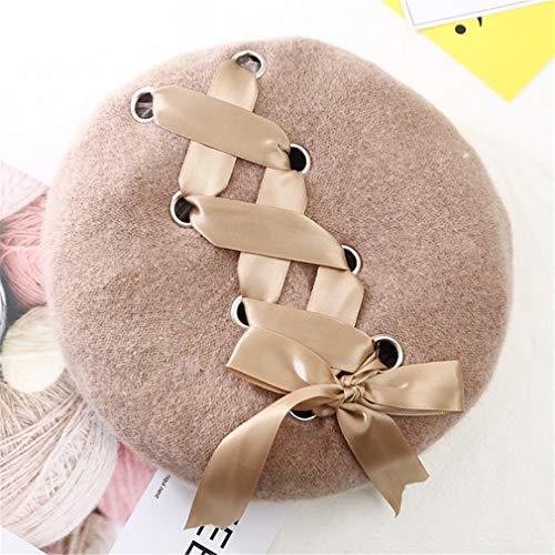New Sweet Cute Berets Women Winter Hats Soft Macaron Color Ribbon Woolen Lolita Beret Classical Soft Straps Cross Bow beige