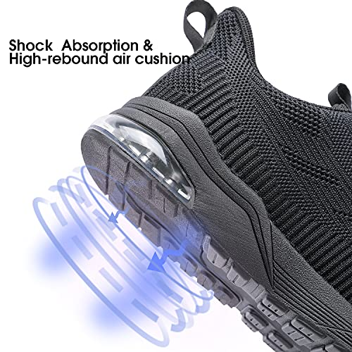 ouumeis Women Air Cushion Tennis Sneaker Lightweight Running Shoes with Arch Support Casual Breathable Slip Resistant Shoes for Walking Workout Bowling Gym Black