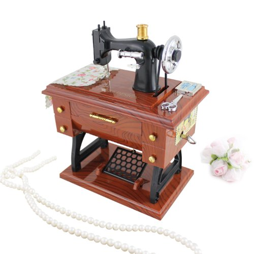 """UPC 633232648995, Music Box Gifts Sewing Machine Brown Plays """"Beautiful Dreamer"""" By Stephen Foster"""