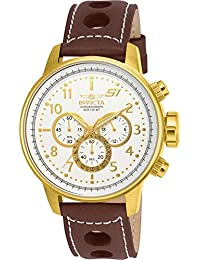 """Men's 16011 S1 """"Rally"""" 18k Gold Ion-Plated Watch with Brown Leather Strap"""