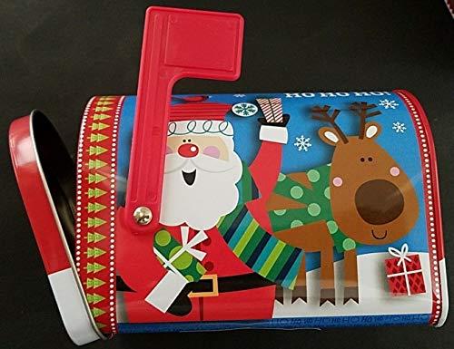 Santa Box Hinged ('Ho Ho Ho' Santa & Reindeer Holiday Gift Boxes Mailboxes Hinged Door w Flags Metal Mailbox)