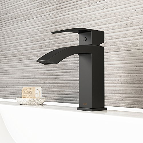 VIGO VG01015MB Satro Modern Bathroom Faucet, Single-Hole Deck-Mount Lavatory Faucet with Plated Seven Layer Matte Black Finish ()