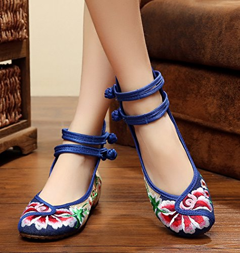 AvaCostume Chinese Style Embroidered Flats Multicolor Cheongsam Shoes Blue xtUEztA