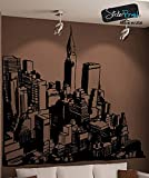 """Stickerbrand© Cityscapes Vinyl Wall Art City View Wall Decal Sticker - BLACK color, 60"""" x 66"""". Easy to Apply & Removable."""