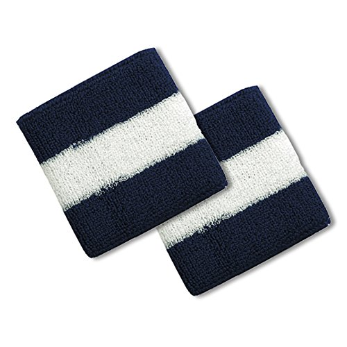 (Cotton Terry Cloth Stripe Sports Wrist Band 2 Pack - NAVY WHITE)