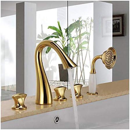 チタンゴールドバスタブ蛇口温水と冷水広範囲5穴3ハンドルグースネックバスルーム浴槽の蛇口デッキマウントバスシャワーミキサータップハンドヘルドシャワー付き