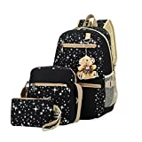 Canvas Backpack Set 3 Pieces Galaxy Star Patterned Bookbag Laptop School Backpack for Girls Black