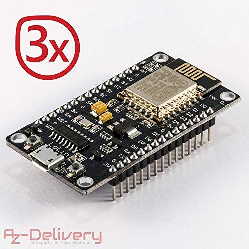 AZDelivery ⭐⭐⭐⭐⭐ 3 x Nodemcu Lua Lolin Module V3 ESP8266 ESP 12E WiFi Development Board with CH340