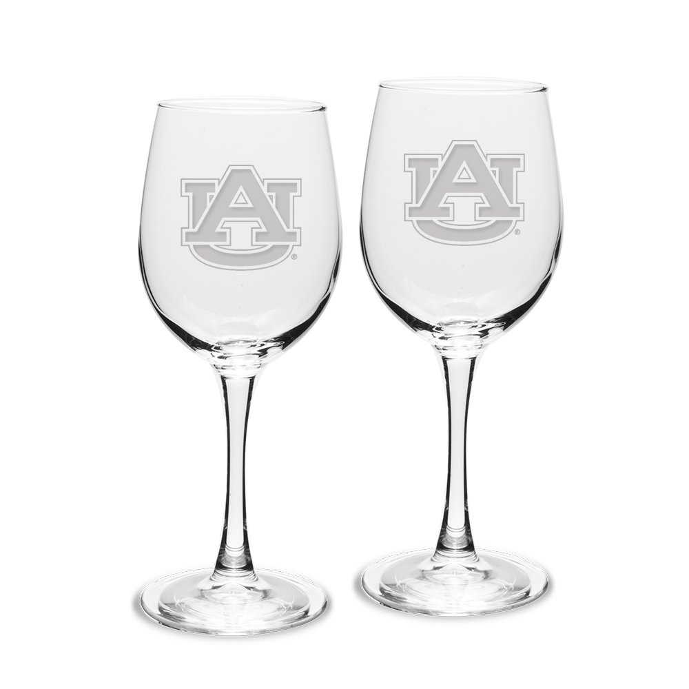 NCAA Auburn Tigers Adult Set of 2-12 oz White Wine Glasses Deep Etch Engraved, One Size, Clear